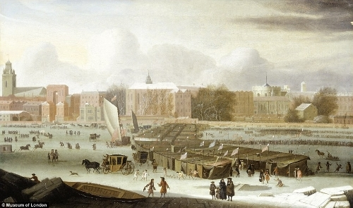 1684 oil on canvas painting called A Frost Fair on the Thames at Temple Stairs